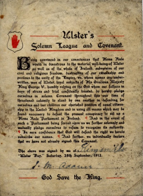 Covenant signed by James Meeke Adams, 1912